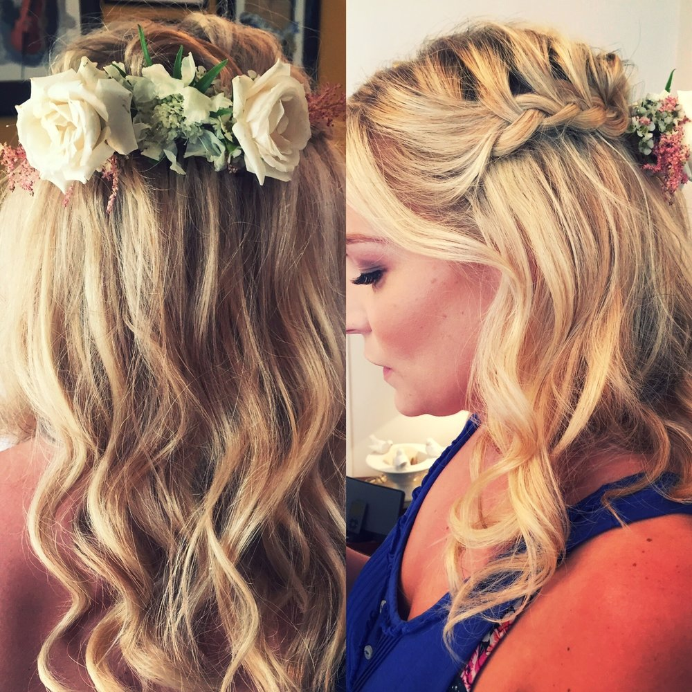 Half up braided do - There are many different ways to add a braid or two into a half up, half down style. What's great about this is that you get the best of both worlds. Leave the rest softly curled, waved or even straight!