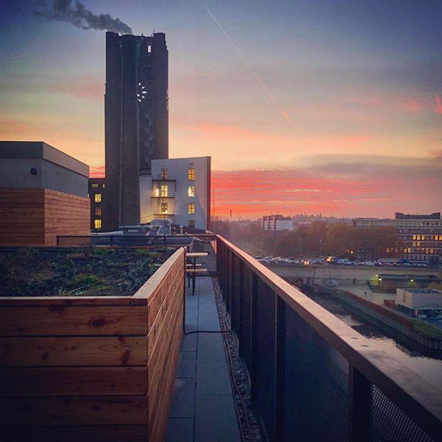 Office break with a view #sunset #berlin #tempelhoferhafen #bosch #incubator #startup #harbour #rooftop #urbangarden #orange #iphonephotography #smartphonephotography #photography #travelphotography #travelgram #instatravel #travel #instago #worldingram #lifeisgood