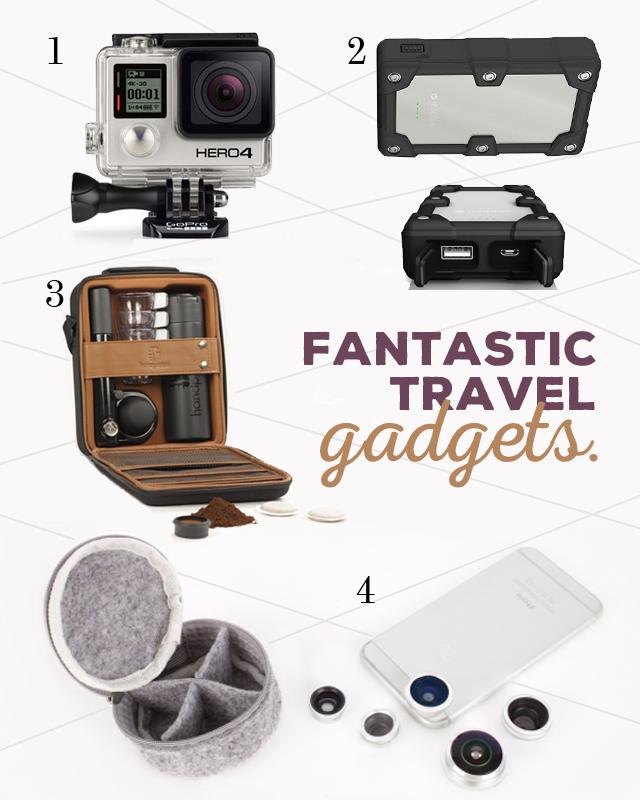 /// 1. GoPro Camera - Hero 4 /// 2. Mophie - Smartphone & Tablett Powerstation /// 3. Handpresso - Hybrid Outdoor Espresso Machine /// 4. Photojojo - Mobile Phone Lenses ///