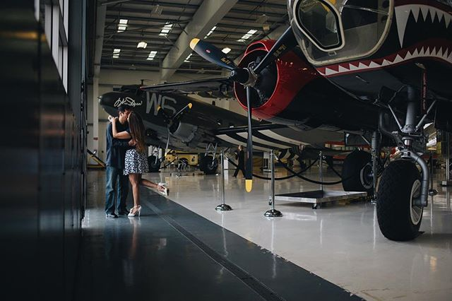 It's always fun when we get to shoot a couple in a place that they enjoy! ✈️ 💞💍 #lyonairmuseum #engagementphotos #engagedandinked #fighterjet #esession #orangecountyweddingphotographer #ocweddingphotographer #johnwayneairport #airmuseum #photoshoot #photo #maywedding