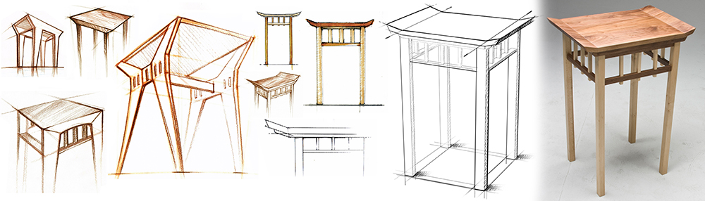 Yespo Designs - Japanese Nightstand Sketches