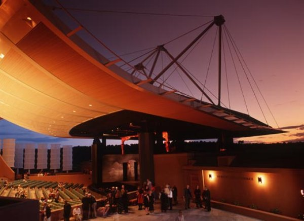 The highly acclaimed Santa Fe Opera, holds performances throughout the summer in a memorable open-air theater.  (Doug Merriam/Santa Fe, NM and Visitors Bureau)