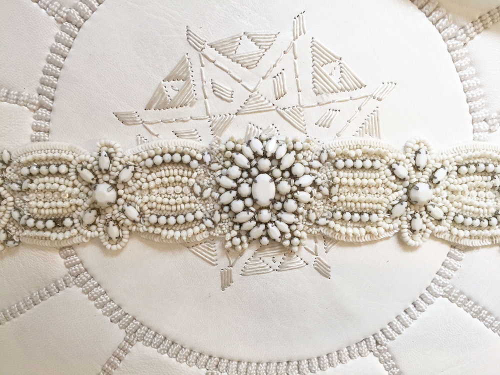 THE 'CASABLANCA' BELT  - PERFECT TO ADORN YOUR WEDDING GOWN, 'THE CASABLANCA' BELT IS ENCRUSTED WITH PRECIOUS WHITE OR SILVER STONES. THE BELT TIES AT THE BACK WITH AN ELEGANT OFF-WHITE THIN SILK RIBBON. AVAILABLE IN WHITE. BY BO & LUCA