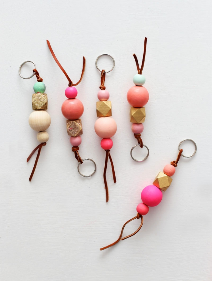 colorful-wood-bead-keychains