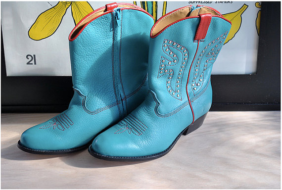 Turquoise Blue Frye Cowboy Boots