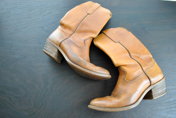 Western Brown Levis Cowboy Boots