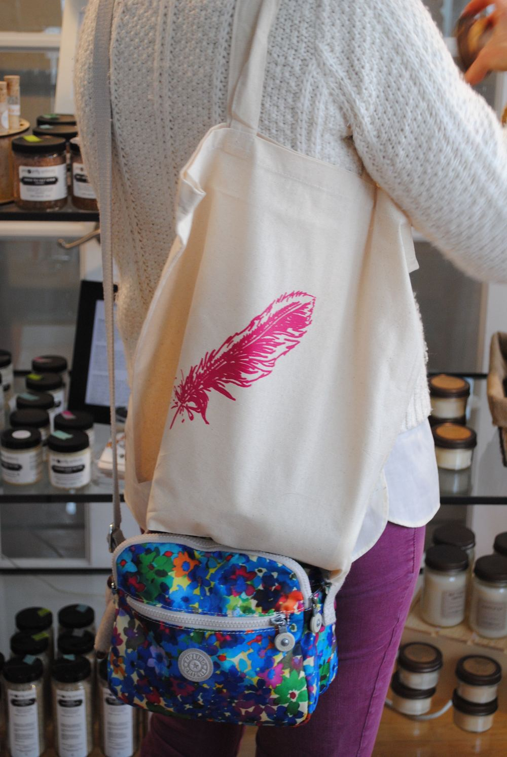 pink-feather-tote-screen-print