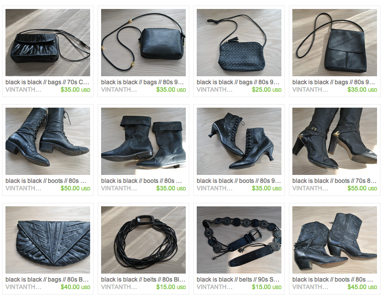 Etsy shop screen shot black bags boots and belts