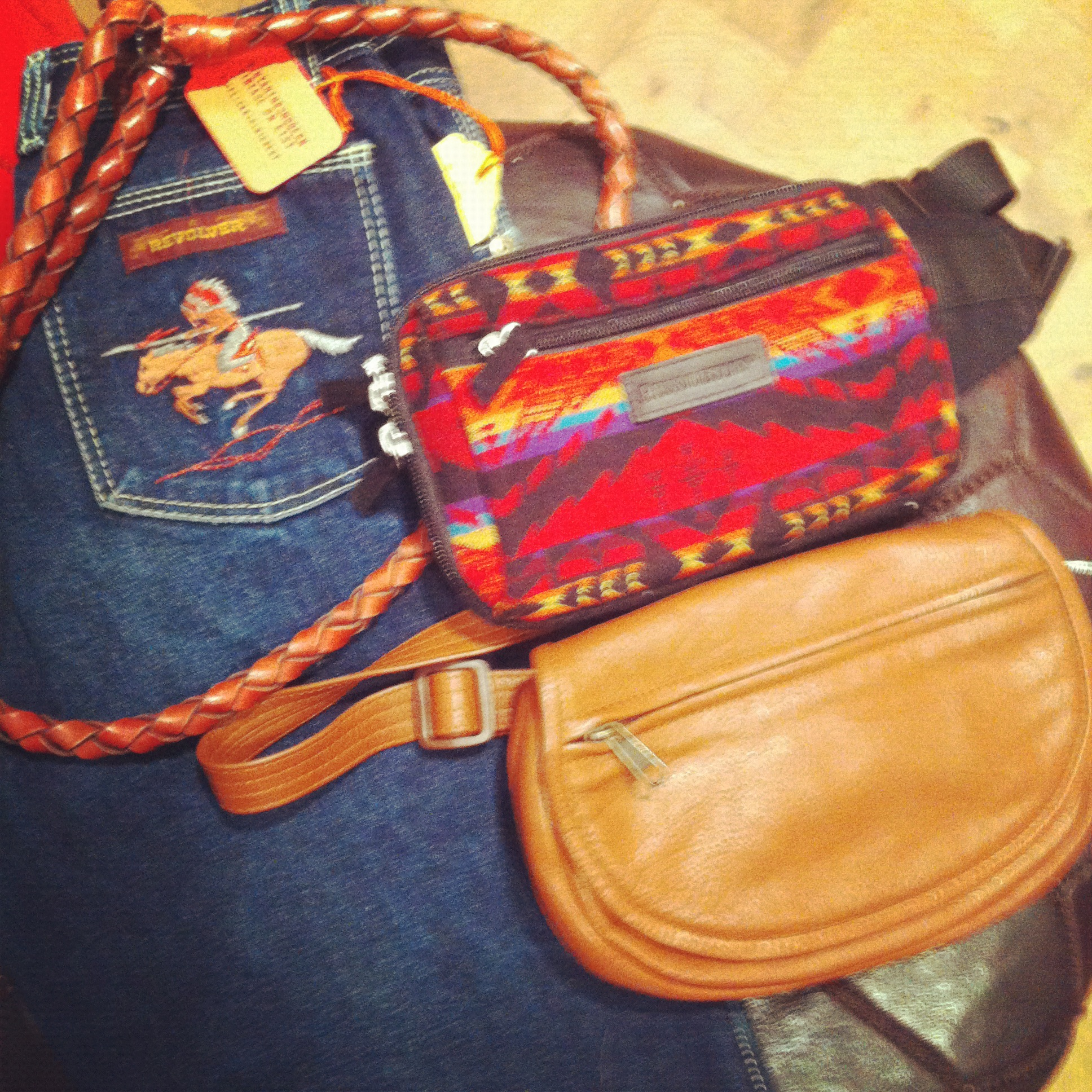 Southwestern influence - Pendleton fanny pack, cowboy jeans
