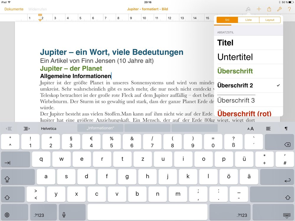 Textformatierung in Pages