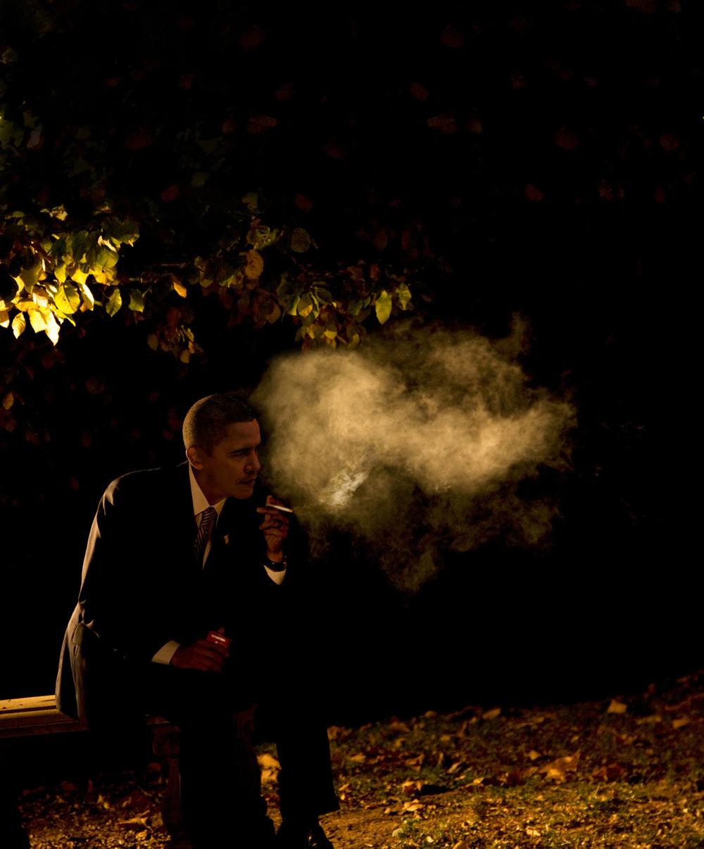 Obama Smoking 2012