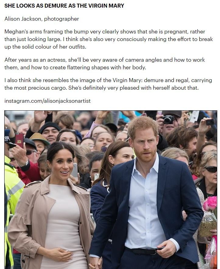 Quoted in the Mail Online 'Why can't Meghan Markle keep her hands off her bump? Experts tackle the question that has got the nation talking: Is it pride, vanity, acting - or a new age bonding technique?'