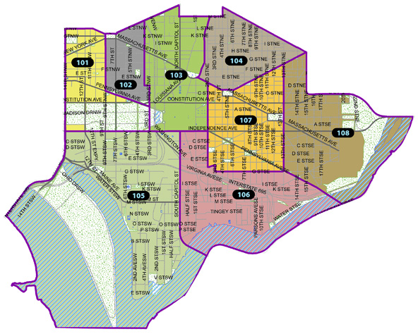 MPD 1st District Police Service Areas