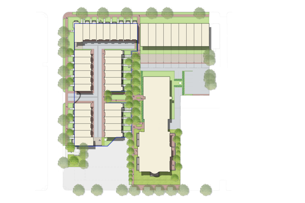 Proposed site plan for the Buchanan School project. The BZA case covers the units outlined in blue.