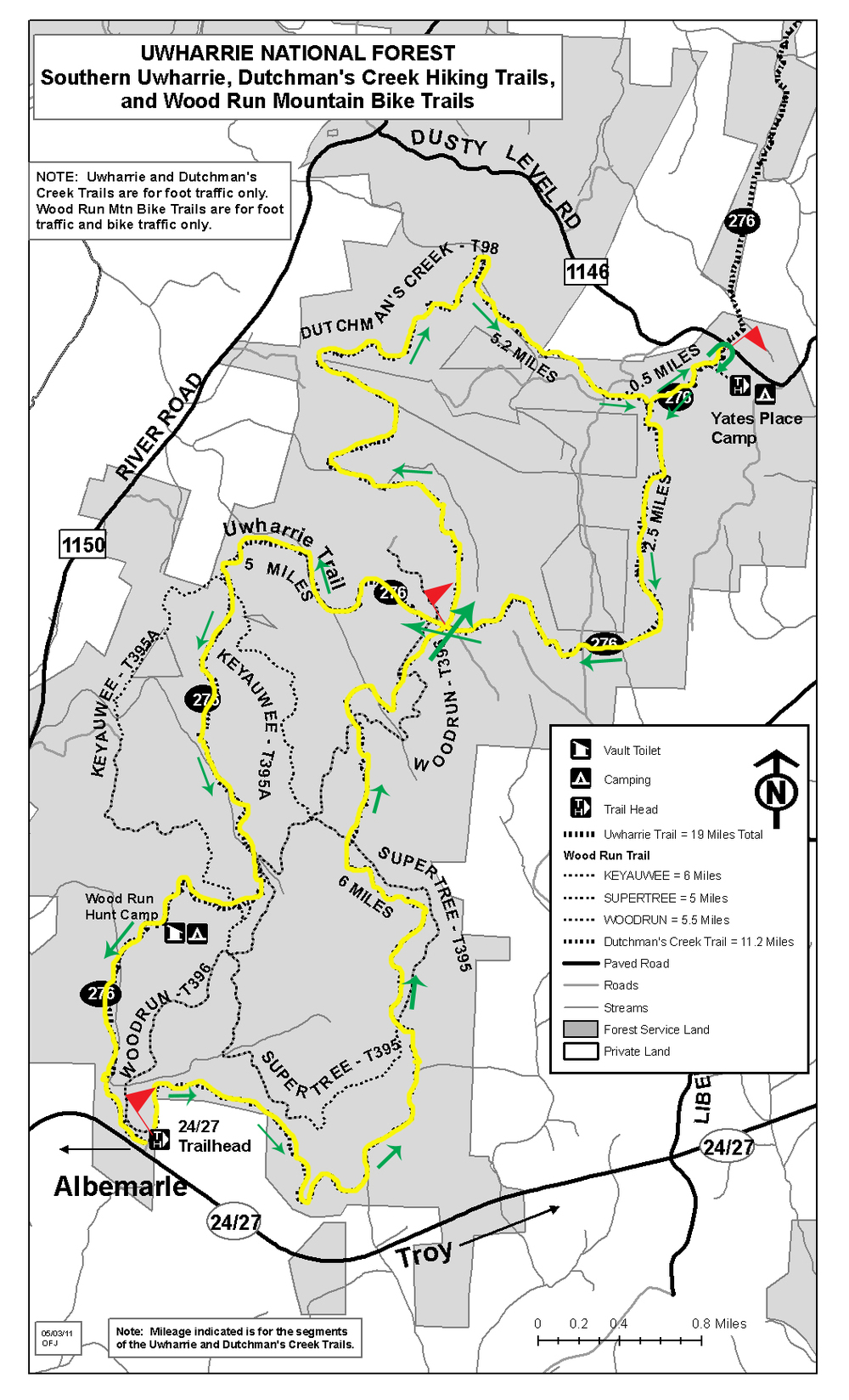 Uwharrie 100 Mile and 100K Trail Run Course Map.  Aid Stations are marked with red flags.  The race begins at the 24/27 Trailhead at the southern portion of the course.