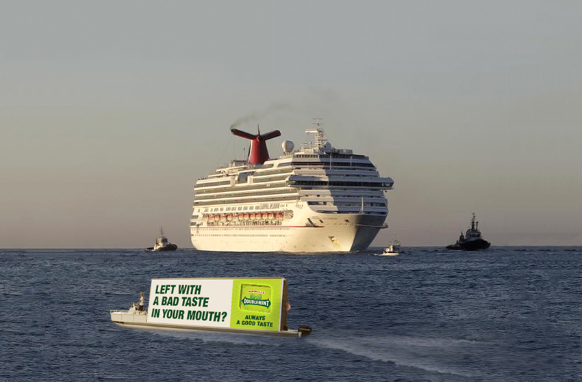 "Remember when the Carnival Triumph ""hell cruise"" got stuck in the sea for 5 days? Doublemint is ready to welcome all passengers once they make it to shore."