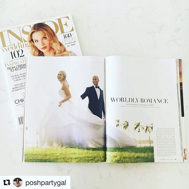 We are inside Inside Weddings. Cool! -- #Repost @poshpartygal (@get_repost) ・・・ Celebrating on this #wedding #wednesday - @cecewedel and @m_a_u_r_i_c_i_o 's wedding gracing 10 pages of the summer issue of @insideweddings. We are so grateful for this honor! 💖✨✨#hardworkpaysoff #wedding -- #nationwide #bride #groom #stillnewlyweds #weddingphotography #weddingideas #humpday