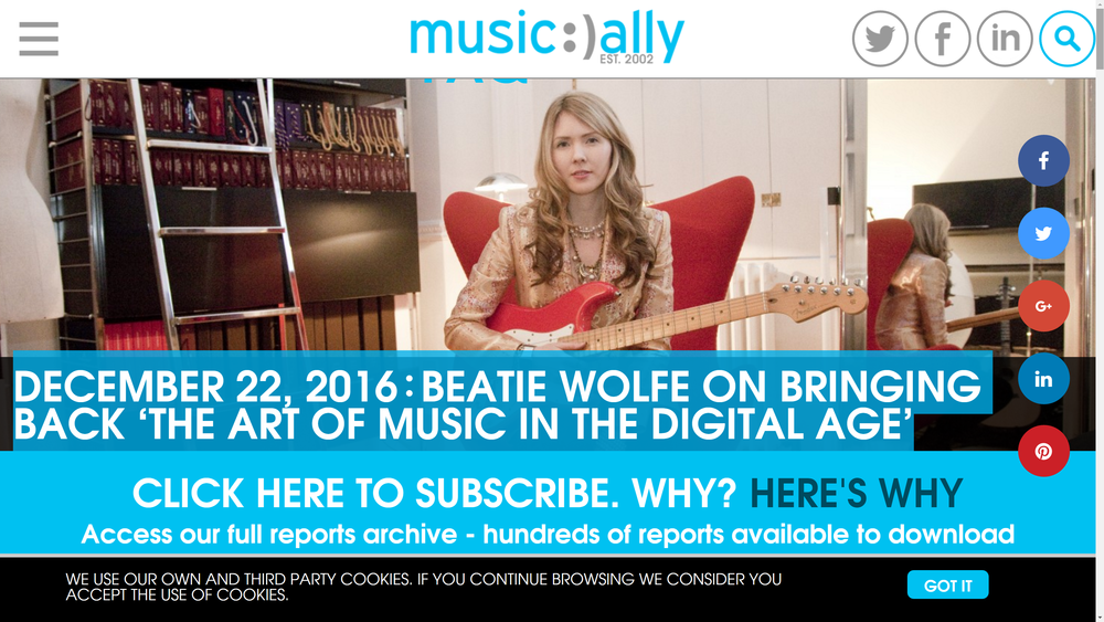 Beatie Wolfe featured by Music Ally