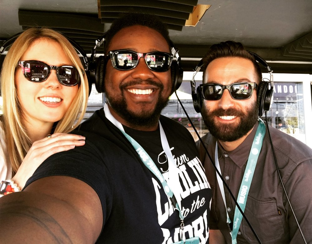 Beatie Wolfe, Phonte, Evan Pollock taking a break from live streaming in the Pandora SXSW live studio