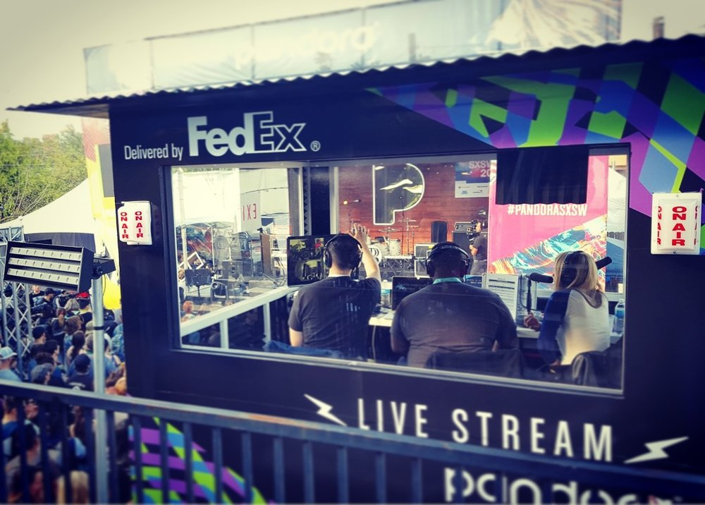 Beatie Wolfe, Phonte and Evan Pollock mid live stream Pandora Radio broadcast at SXSW