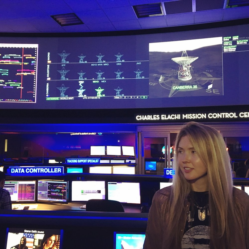 Beatie Wolfe in NASA's Charles Elachi Mission Control, Pasadena CA, US
