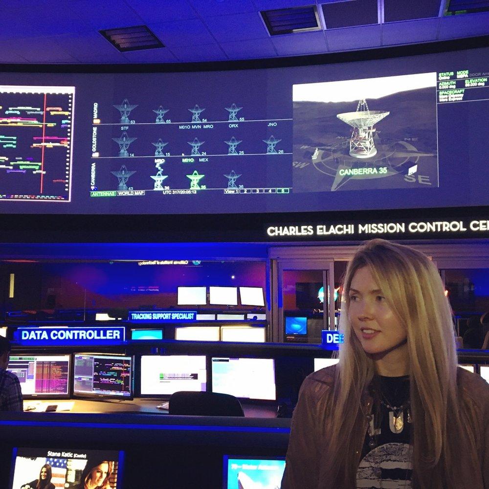 Beatie Wolfe in NASA's Charles Elachi Mission Control, Pasadena CA, US