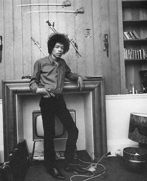 Hendrix by the TV fireplace at 34 Montagu Square.jpg