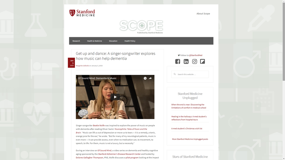 Stanford University School of Medicine Website Screen Grab