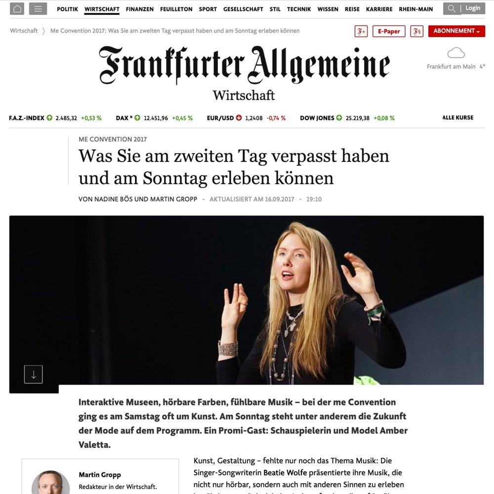 Frankfurter Allgemeine Zeitung feature Beatie Wolfe