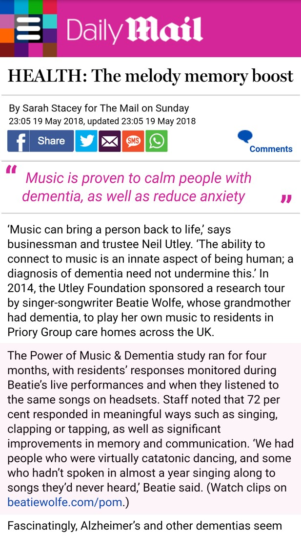 Daily Mail feature Beatie Wolfe's power of music and dementia