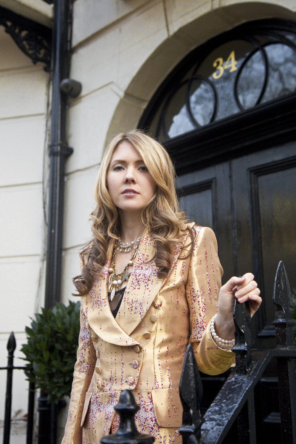 Copy of Beatie Wolfe - 2015 Montagu Suare - in her musical jacket outside 34 Montagu Square by Ollie Smallwood