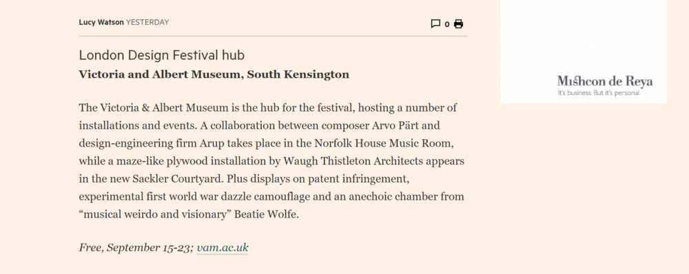FT on Beatie Wolfe's V&A Exhibit for LDF