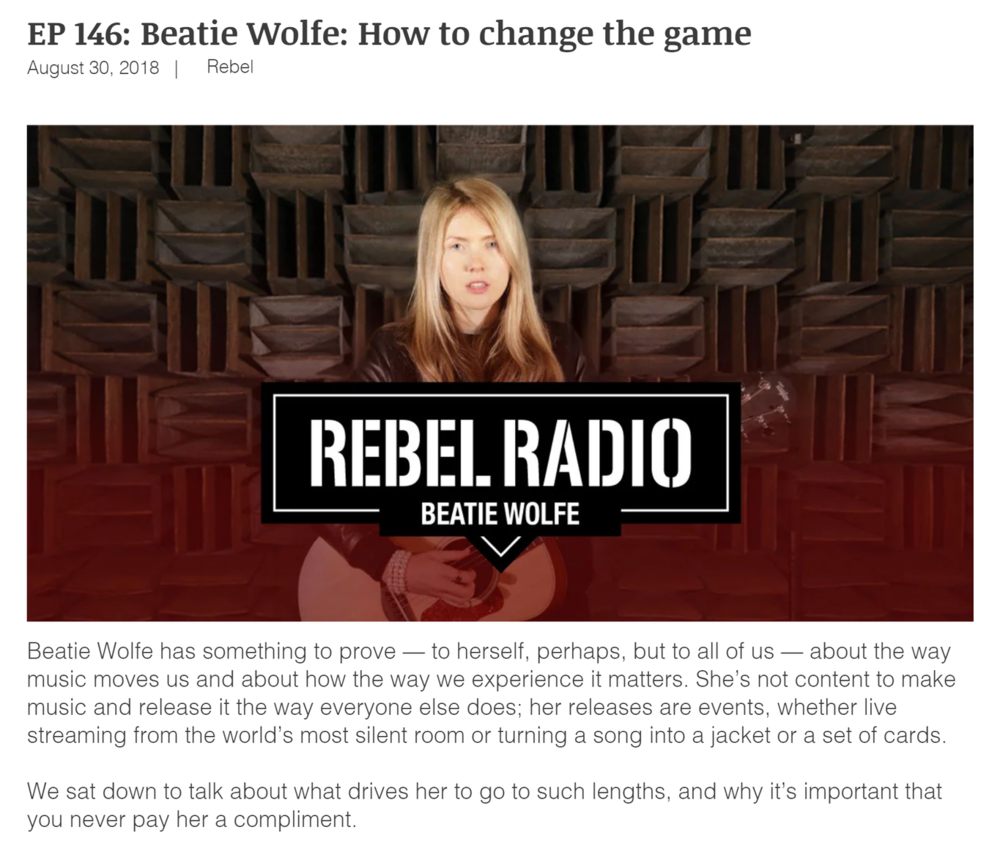 Beatie Wolfe on Rebel Radio