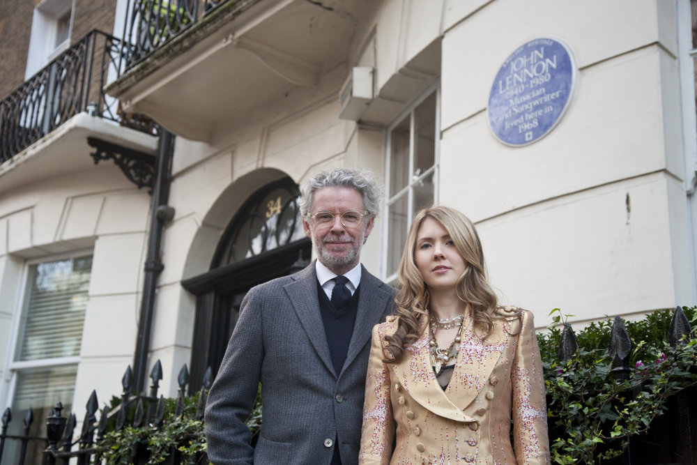 08. Mr Fish & Beatie Wolfe in her Musical Jacket outside 34 Montagu Square - Photo by Ollie Smallwood.jpg