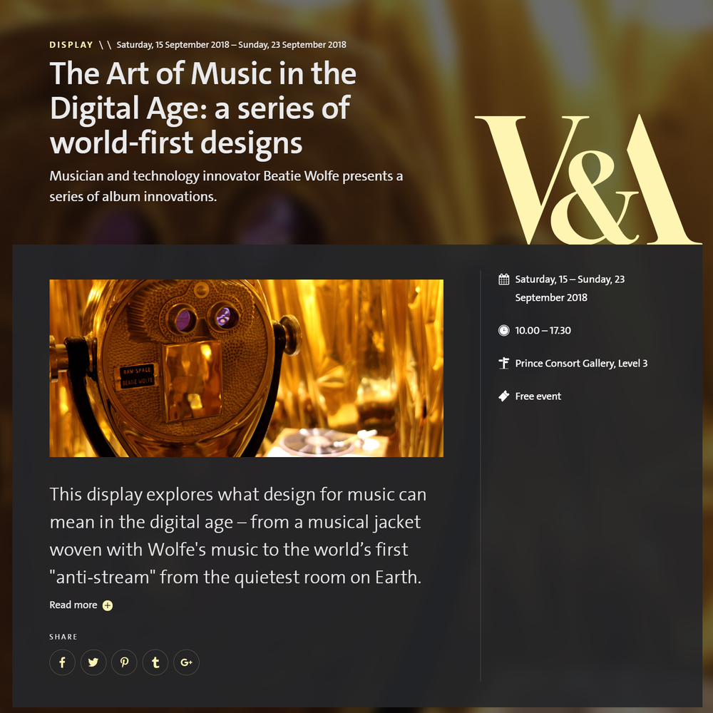 V&A Museum Beatie Wolfe Exhibition Website
