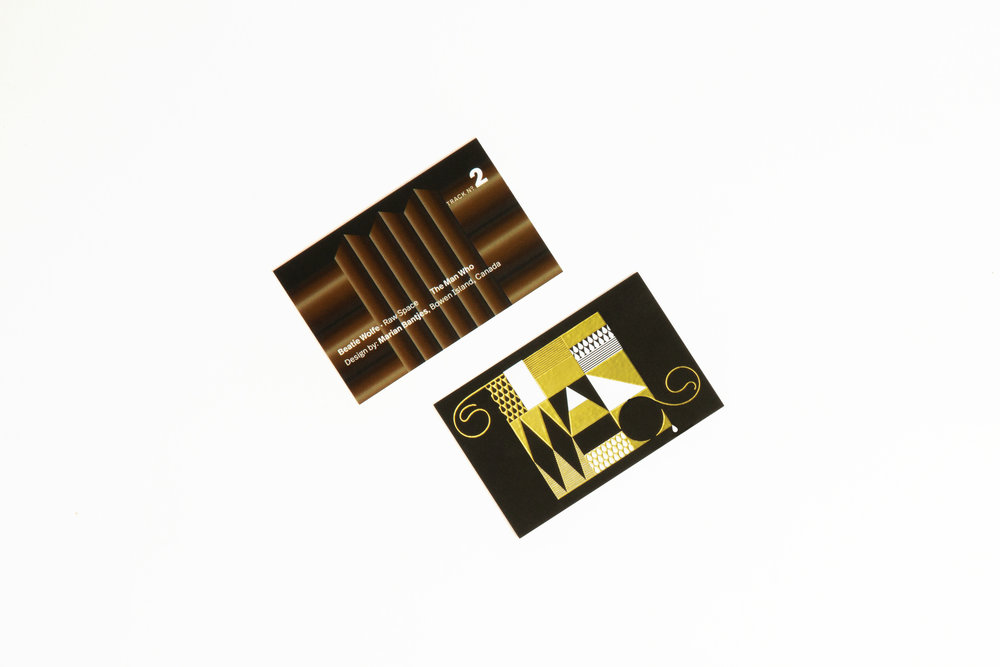 Marian Bantjes designs Beatie Wolfe's The Man Who track card off her Raw Space Album