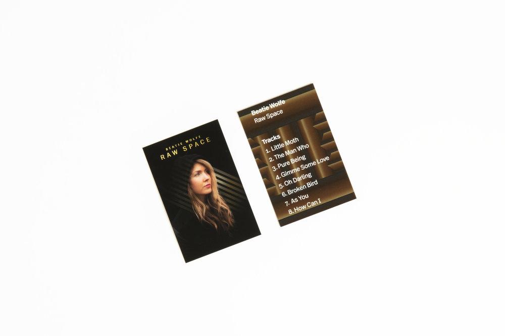 Emily Gobeille designs Beatie Wolfe's album card off her Raw Space Album