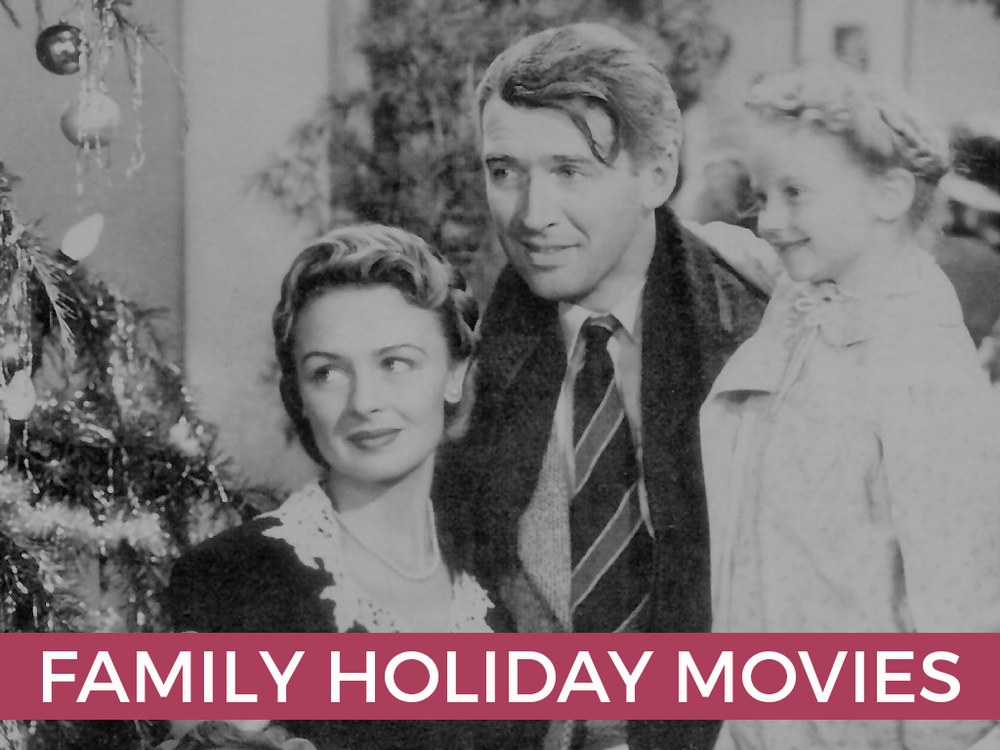George Bailey, Mary Bailey, and Zuzu in the beloved holiday classic, It's a Wonderfull Life (Rated PG).