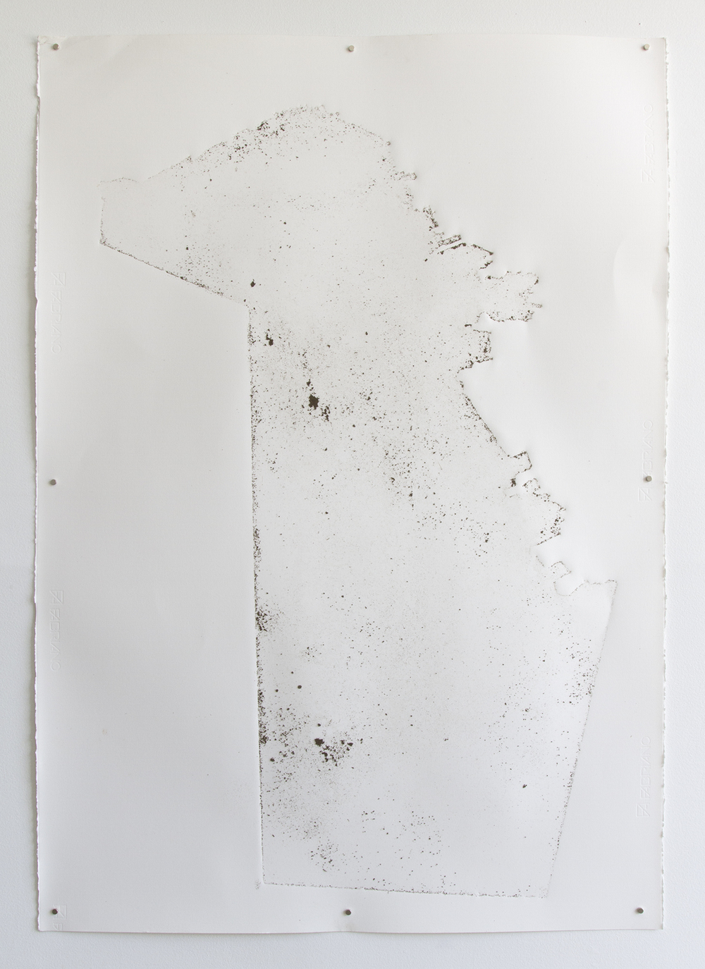 Dirt Drawing Three, 2014, site-specific dirt on Fabriano paper, 28in x 39in