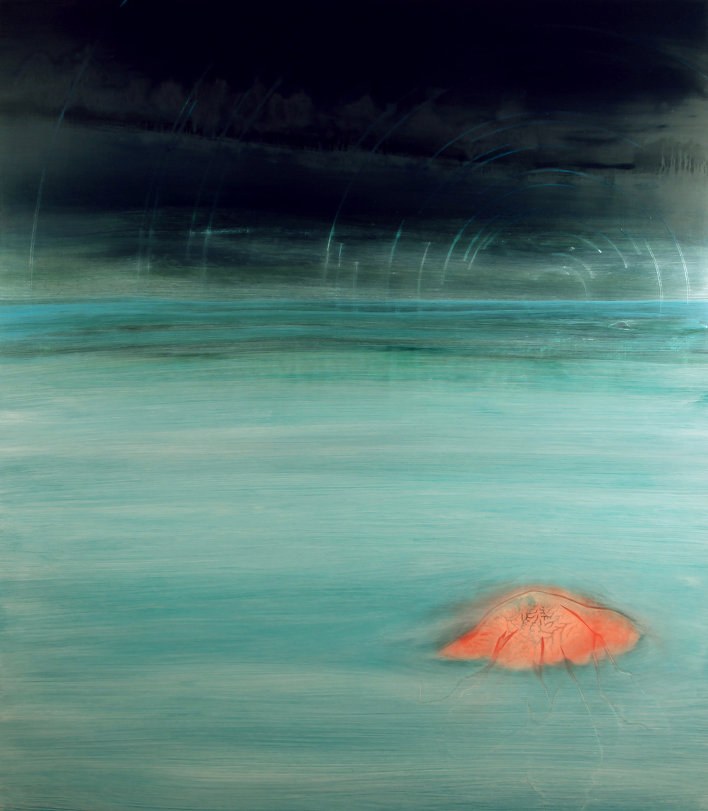 the farther away the better I see you, 2010, oil on panel, 44 x 50