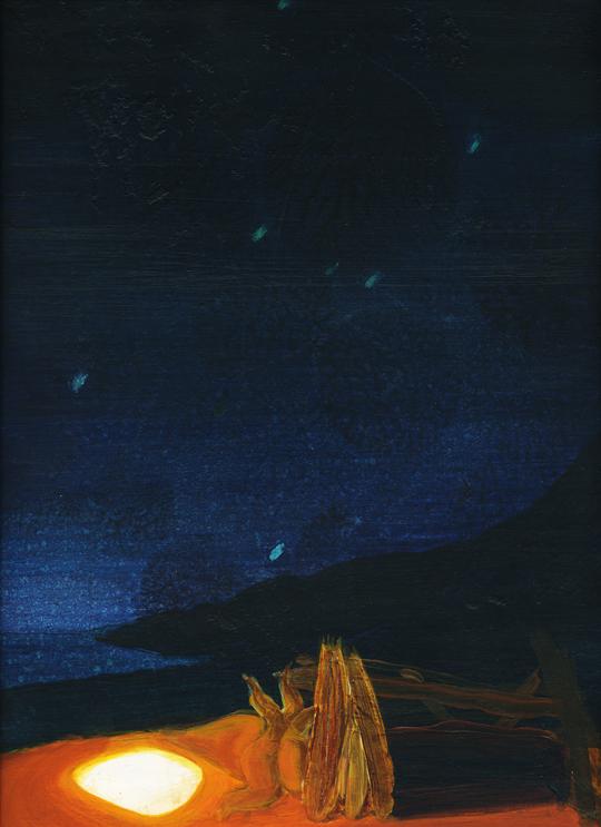 lost coast nights' lights 1, 2009, acrylic and oil on panel, 12 x 8