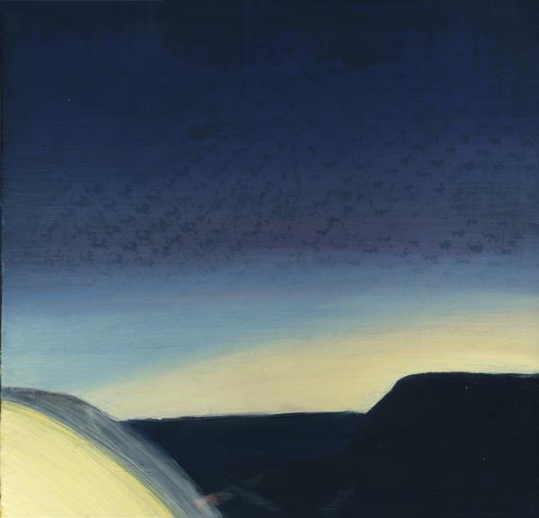 lost coast nights' lights 2, 2009, acrylic and oil on panel, 14 x 14