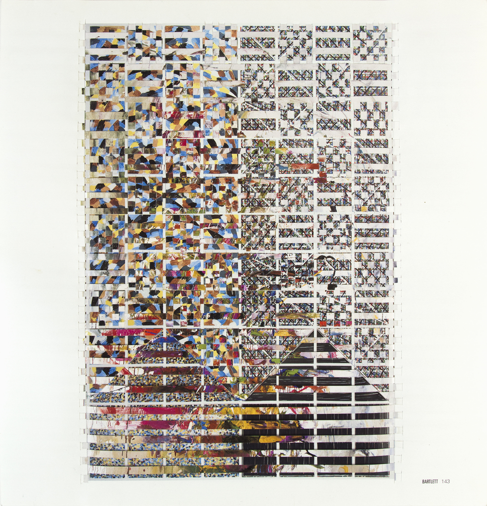 bartlettmitchell, 2014, hand-woven art auction catalog pages, 10.25 x 10.75