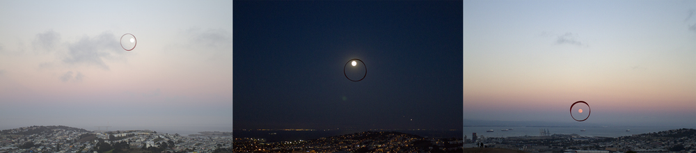 Three Full Moons, 2012-2014, Three Digital C-prints on Di-bond, 20 in x 13.5 in each, edition of 3,