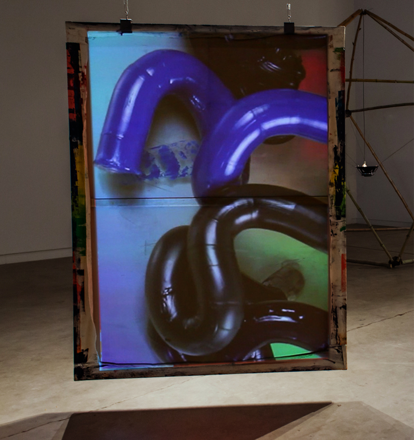 Installation view (back). Tubes, 2015, oil on canvas, 78 x 60, HD video, color, no sound, 5 min 40 sec