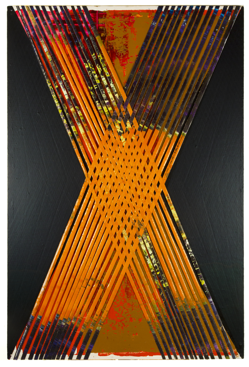 orange ex, 2015, oil oncanvas strips and acrylic on plywood, 32 x 48