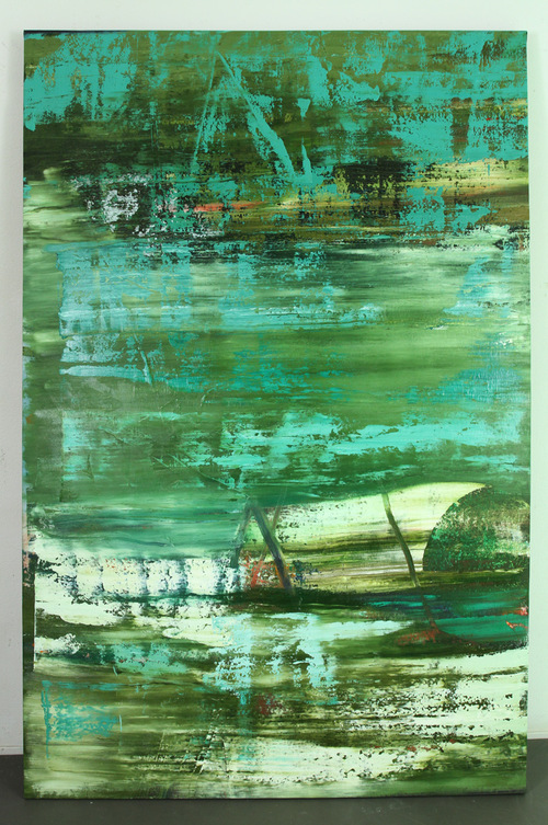 big green, 2013, oil on canvas, 83 x 55 inches