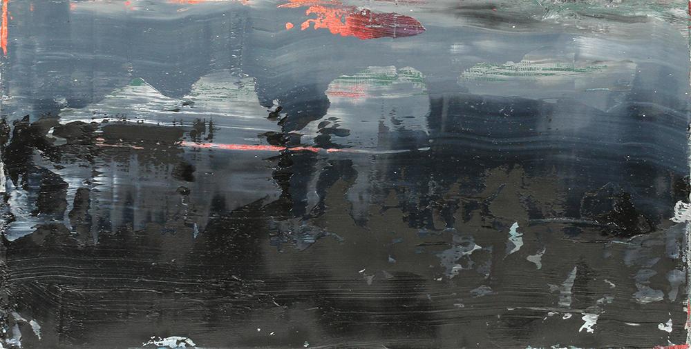 little black,oil on panel, 6 x 10.5 in