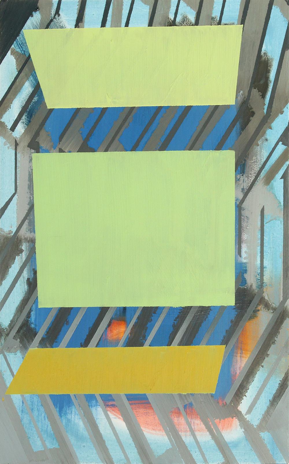 three greens, 2013, oil on panel, 17 x 10.5in