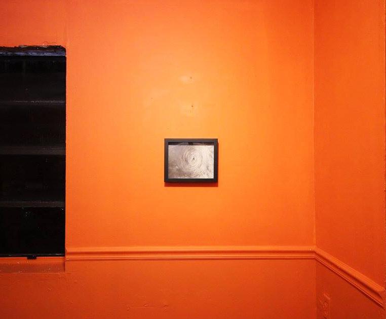 """Installation view. Rachelle Reichert, 2015. Tempest, graphite on paper, 8"""" x 11""""."""